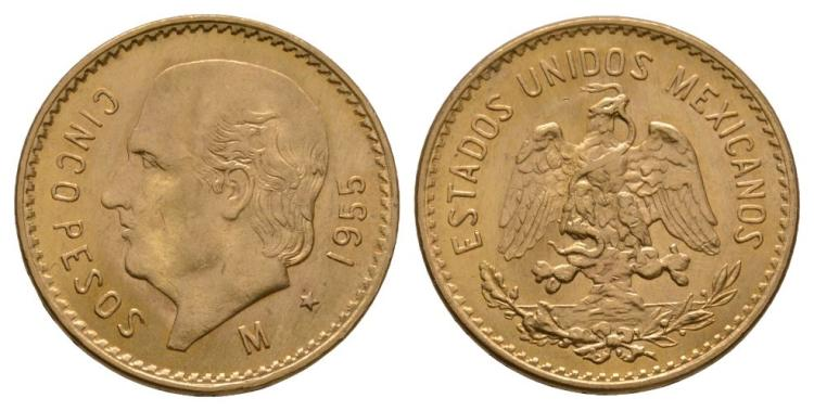 World Coins - Mexico - 1955 - Gold 5 Pesos