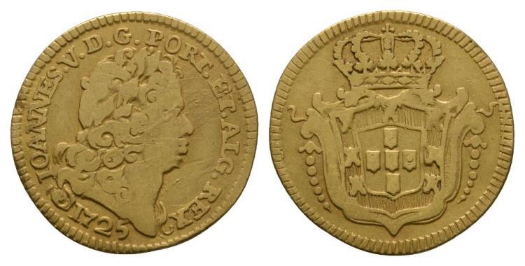 World Coins - Portugal - John V - 1725 - Gold 1/2 Escudo (800 Reis)