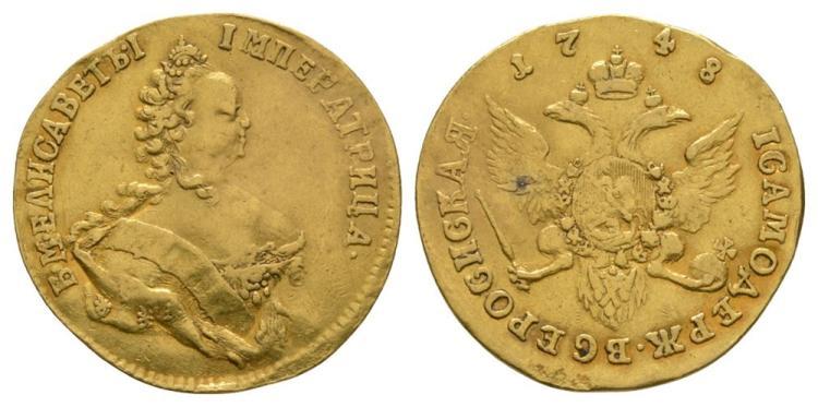 World Coins - Russia - Elizabeth - 1748 - Gold Ducat