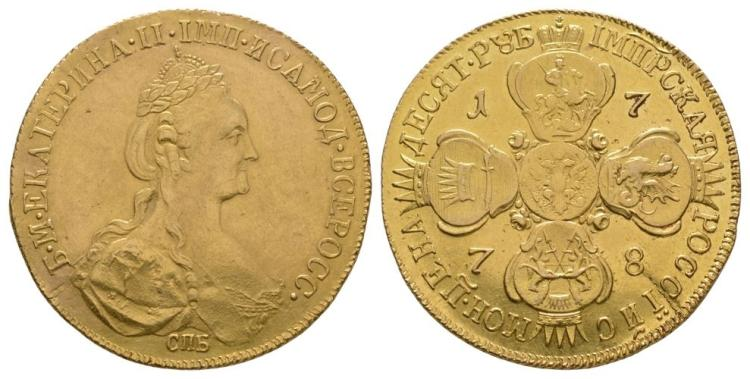 World Coins - Russia - Catherine II - 1778 - Gold 10 Roubles