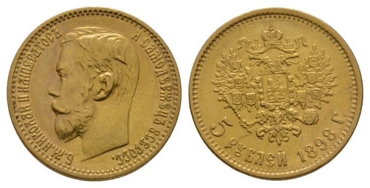 World Coins - Russia - Nicholas II - 1898 - Gold 5 Roubles