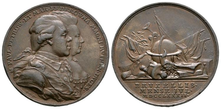 World Commemorative Medals - Russia - Catherine II - Paul Petrovitch and Maria Federowna Brussels Visit Medallion