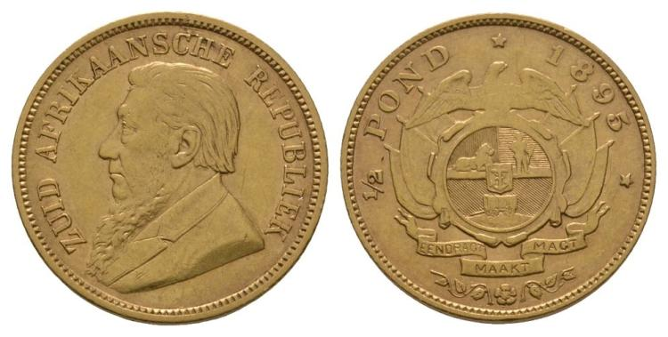 World Coins - South Africa - 1895 - Gold 1/2 Pond