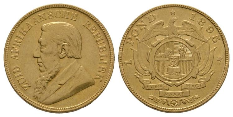 World Coins - South Africa - 1895 - Gold One Pond