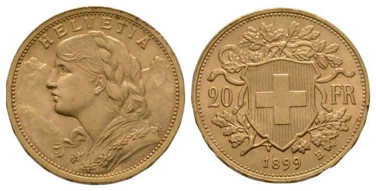 World Coins - Switzerland - 1899 B - Gold 20 Francs