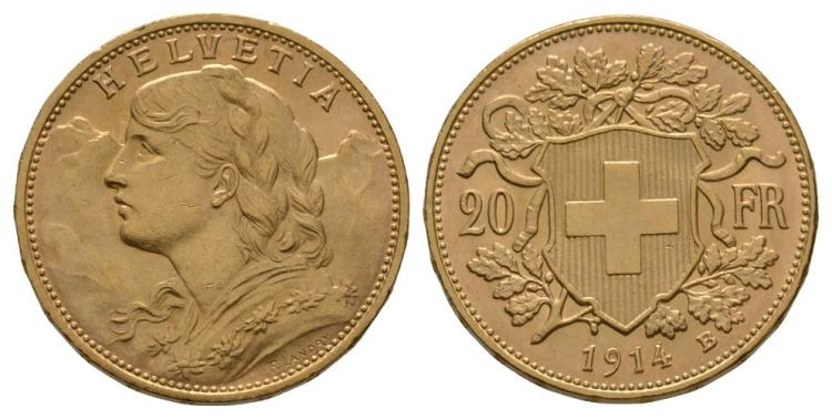 World Coins - Switzerland - 1914 B - Gold 20 Francs