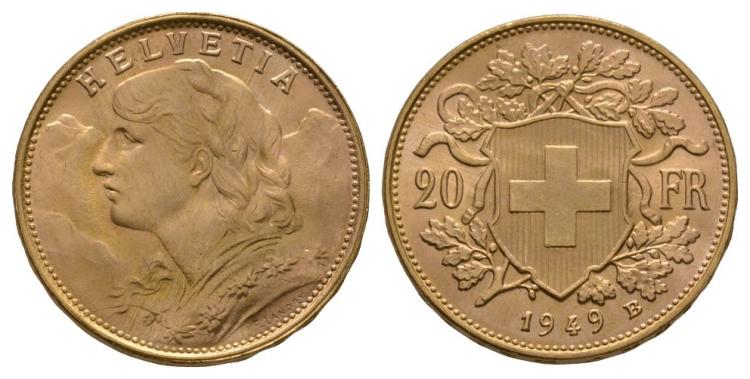 World Coins - Switzerland - 1949 B - Gold 20 Francs