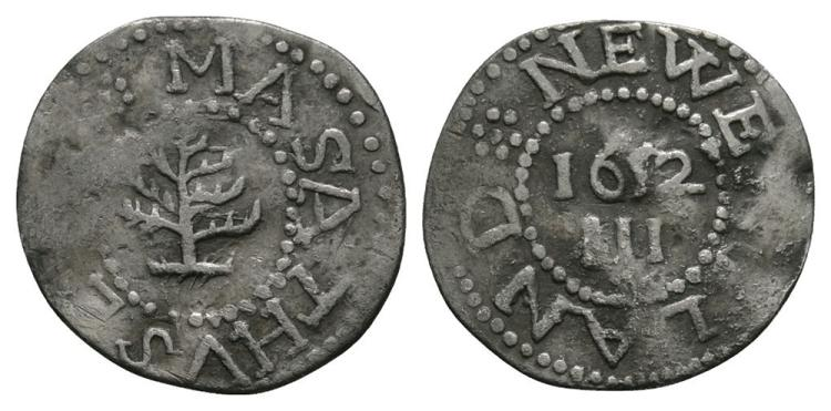 World Coins - USA - Colonial Coinage - Massachussets - 1652 - Pine Tree Threepence