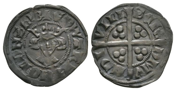 English Medieval Coins - Edward II - Bury St Edmunds - Long Cross Penny