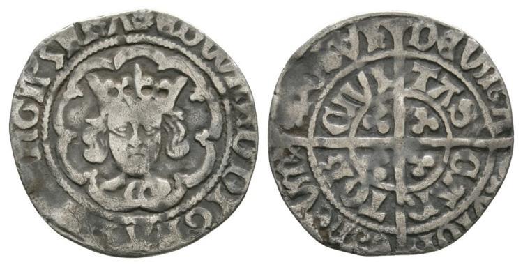 English Medieval Coins - Edward IV - Canterbury - Halfgroat