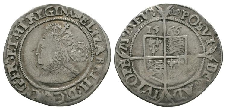 English Tudor Coins - Elizabeth I - 1566 - Sixpence