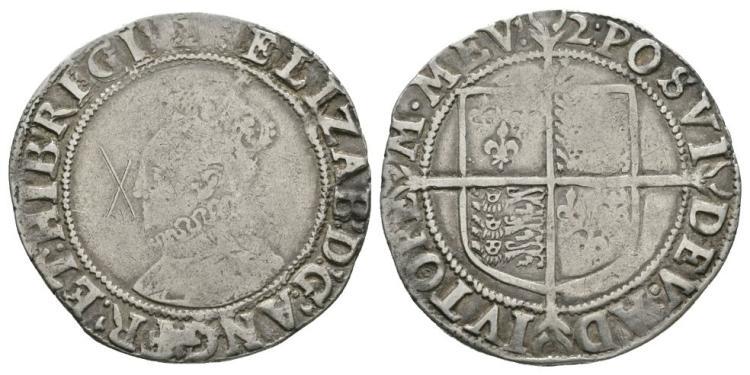 English Tudor Coins - Elizabeth I - 1602 - Shilling