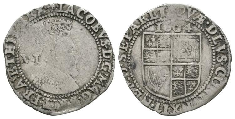 English Stuart Coins - James I - 1604 - Sixpence