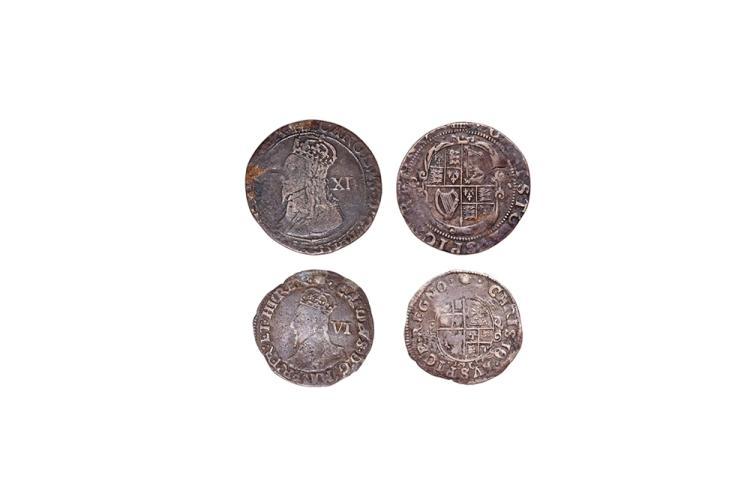 English Stuart Coins - Charles I - Tower - Shilling and Sixpence [2]