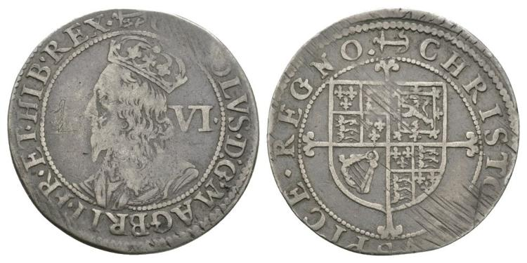 English Stuart Coins - Charles I - Tower - Milled Sixpence