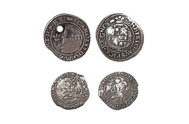 English Stuart Coins - Charles I - Aberystwyth - Threepence and Halfgroat [2]