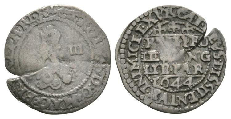 English Stuart Coins - Charles I - Oxford - 1644 - Declaration Threepence