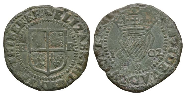 World Coins - Ireland - Elizabeth I - 1602 - Copper Penny