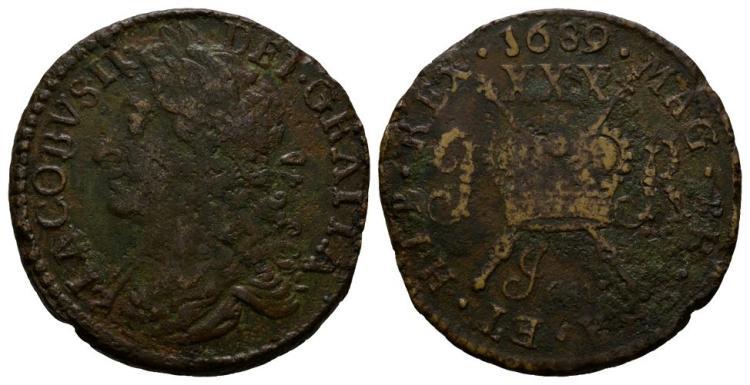 World Coins - Ireland - James II - January 1689 - Gunmoney Large Halfcrown