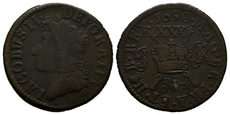 World Coins - Ireland - James II - May 1690 - Gunmoney Small Halfcrown