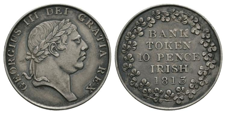 World Coins - Ireland - George III - 1813 - 10 Pence Bank Token
