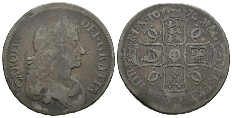 English Milled Coins - Charles II - 1676 V OCTAVO - Mis-Struck Crown