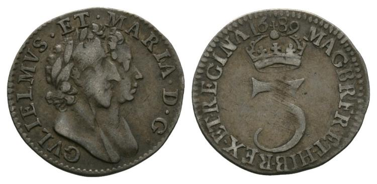 English Milled Coins - William and Mary - 1689 - Threepence