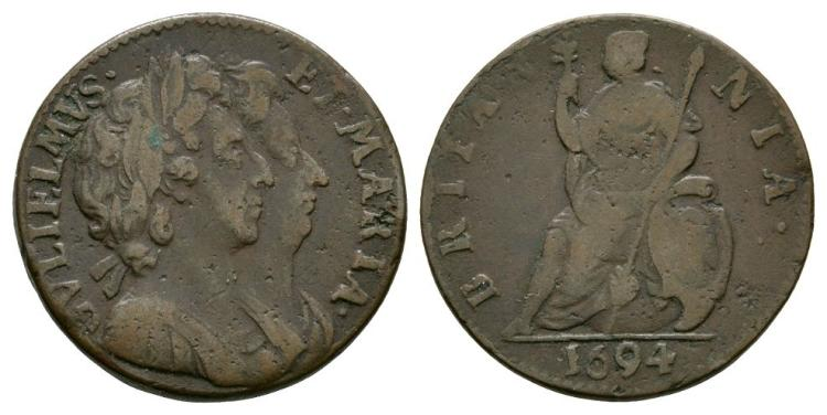 English Milled Coins - William and Mary - 1694 - Farthing