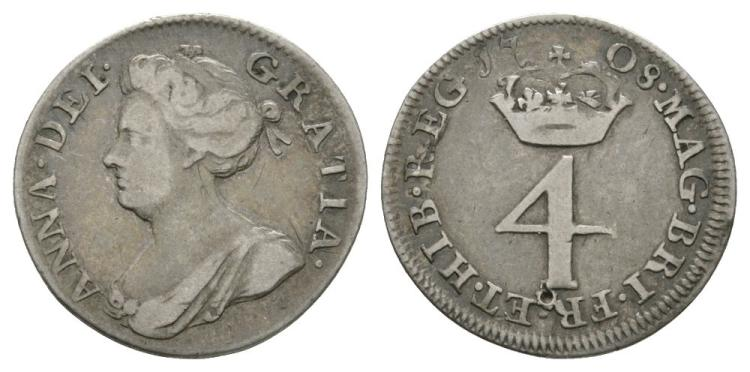 English Milled Coins - Anne - 1708 - Groat
