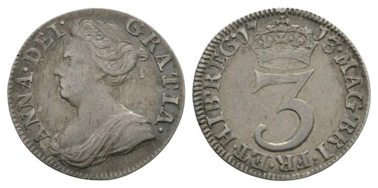 English Milled Coins - Anne - 1713 - Maundy Threepence