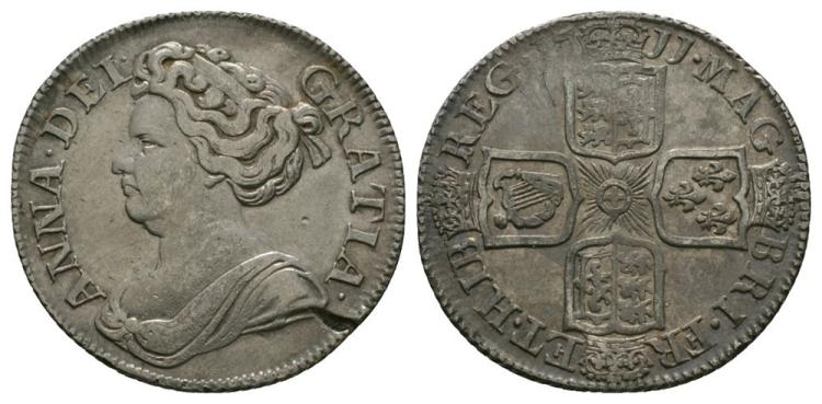 English Milled Coins - Anne - 1711 - Shilling