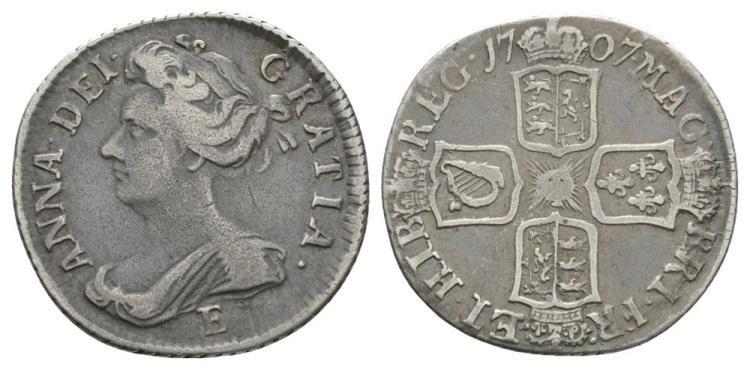 English Milled Coins - Anne - 1707 E - Sixpence