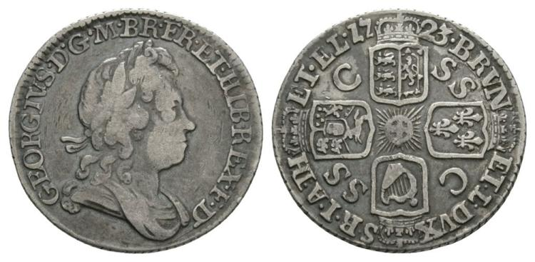 English Milled Coins - George I - 1723 SSC - '3 over 6' Sixpence