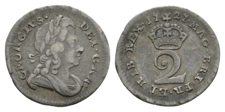 English Milled Coins - George I - 1727 - Twopence