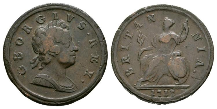 English Milled Coins - George I - 1717 - Dump Halfpenny