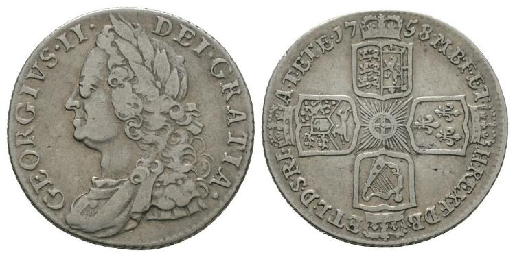 English Milled Coins - George II - 1758 over 7 - Shilling