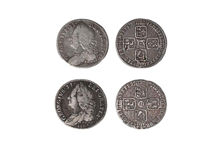 English Milled Coins - George II - 1746 LIMA and 1757 - Sixpences [2]