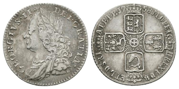 English Milled Coins - George II - 1758 - Sixpence