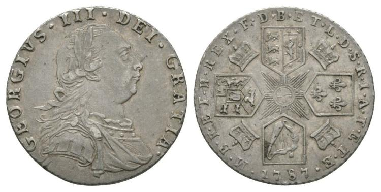 English Milled Coins - George III - 1787 - Sixpence