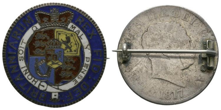English Milled Coins - George III - 1817 - Enamelled Halfcrown Brooch