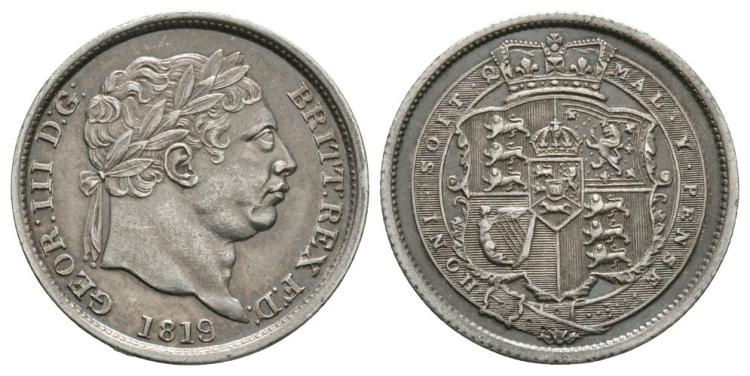 English Milled Coins - George III - 1819 over 1818 - Shilling