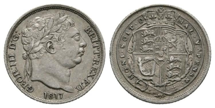 English Milled Coins - George III - 1817 - Sixpence
