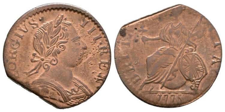 English Milled Coins - George III - 1775 - Evasion Halfpenny