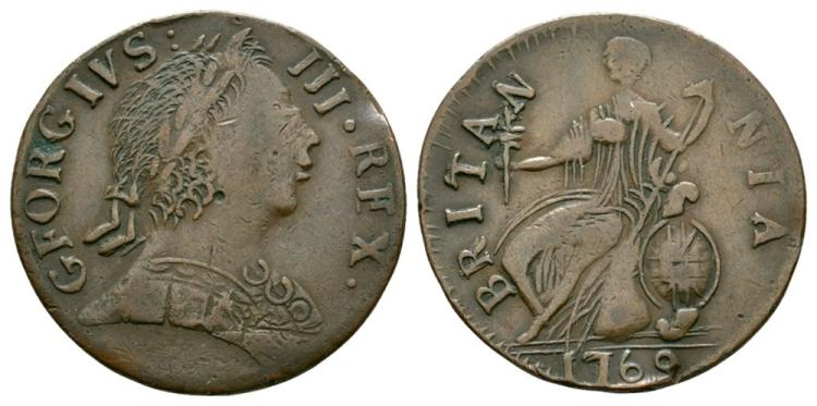 English Milled Coins - George III - 1769 - Evasion Halfpenny
