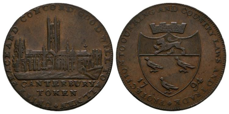 English Tokens - 18th Century - Kent - Canterbury - 1794 - Token Halfpenny