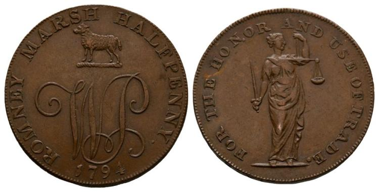 English Tokens - 18th Century - Kent - Dymchurch - 1794 - Token Halfpenny