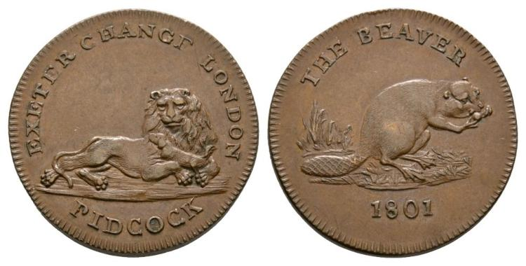 English Tokens - 19th Century - Middlesex - 1801 - Pidcock Beaver/Lion Farthing