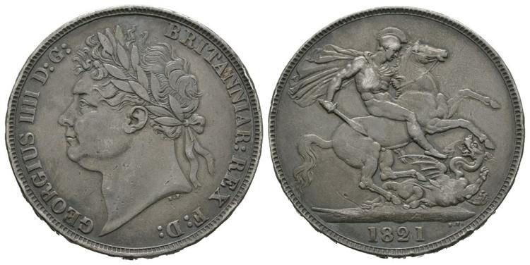 English Milled Coins - George IV - 1821 SECUNDO - Crown