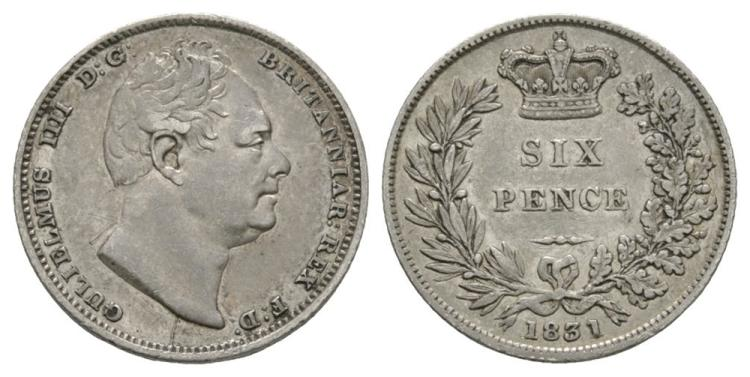 English Milled Coins - William IV - 1831 - Sixpence