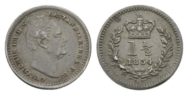 English Milled Coins - William IV - 1834 - Three Halfpence